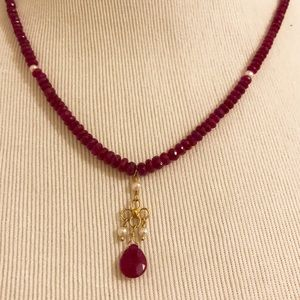 Ruby and seed pearl necklace with 18k gold accents
